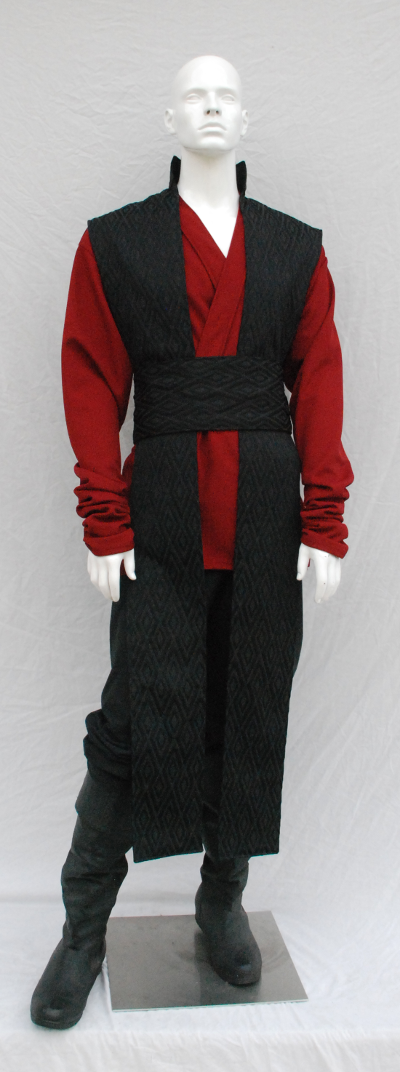 Black Diamond Textured Reversible Surcoat with Red Knitwear Textured Scrunched Sleeve Tunic
