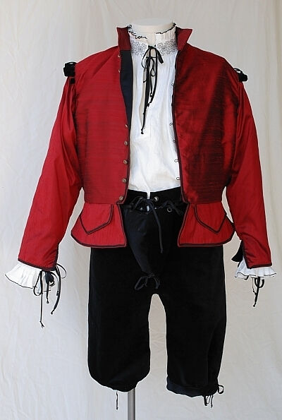 Red Shot Silk Dupioni Doublet, White Linen Blackwork Shirt and Cotton Velvet Breeches
