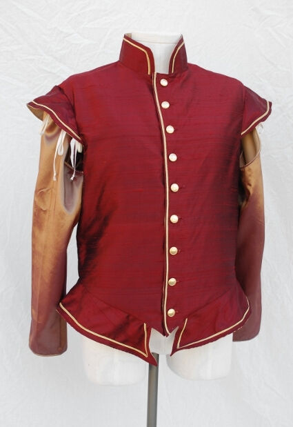 Red Silk Dupioni Renaissance Doublet with Shot Taffeta Sleeves