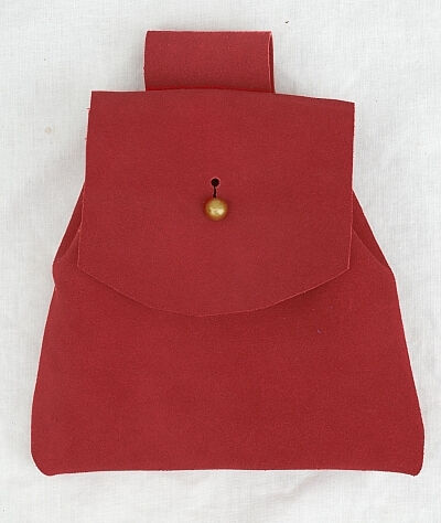 Red Suede Button Bag with Gold Tone Dome Button