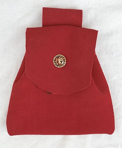 Red Suede Button Bag with Gold Tone Lion Head Button
