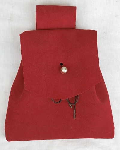 Red Suede Button Bag with Silver Tone Dome Button
