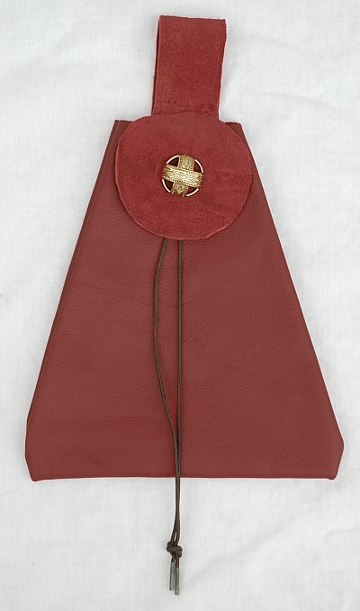 Burgundy Leather Button Bag with Ebony Toggle