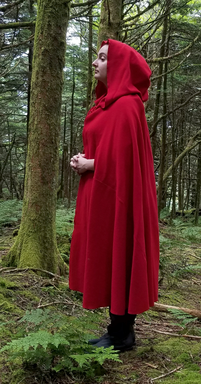 Washed Red Wool Flannel Cape