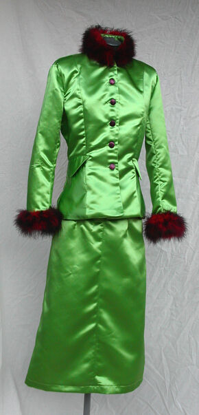 Rita Skeeter Inspired Green Satin Jacket and Skirt