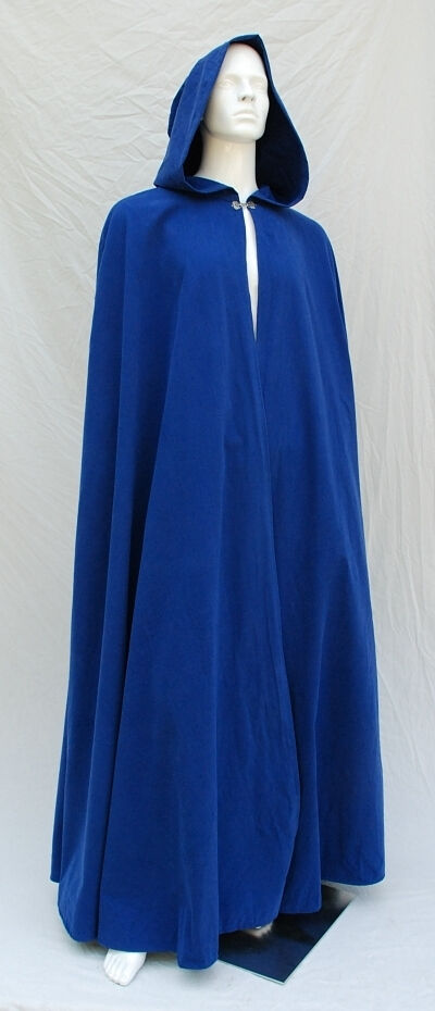 Royal Blue Cotton Twill Cloak with Pointed Full Hood