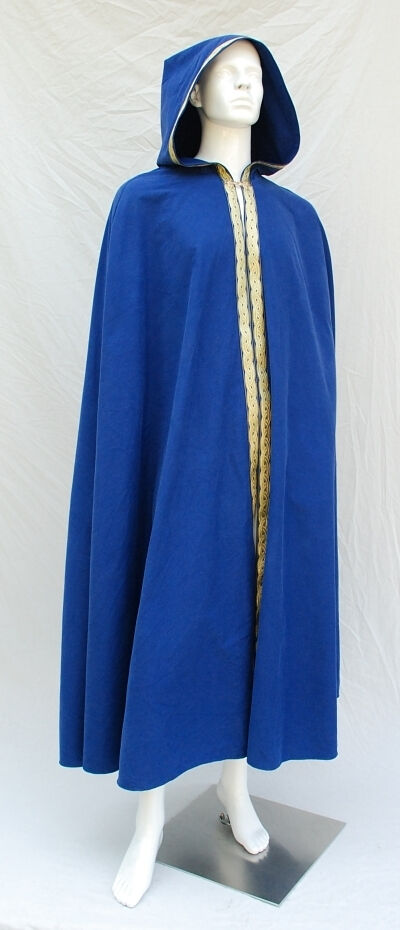 Royal Blue Cotton Twill Cloak with Full Hood and Trim