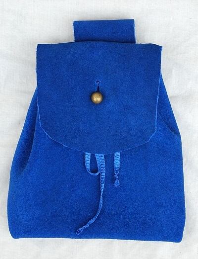 Royal Blue Suede Button Bag with Gold Tone Dome Button