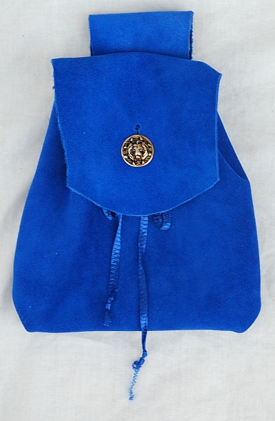 Royal Blue Suede Leather Button Bag with Gold Tone Lion Head Button