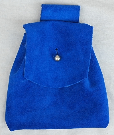 Royal Blue Suede Leather Button Bag with Silver Tone Button