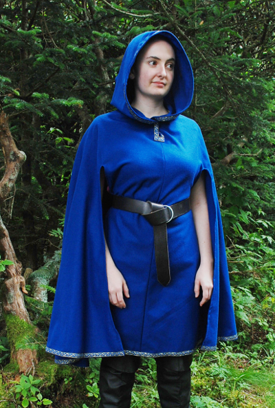 Royal Blue Wool Flannel Cloak Tunic with Trim and Tassel