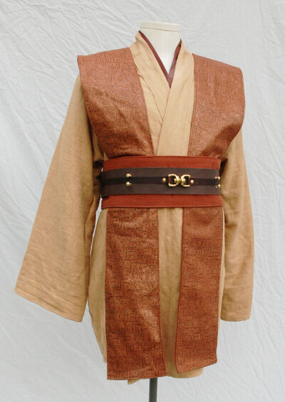 Sand, Terracotta and Tawny Brown Jedi Tunic Set with Leather Tabards