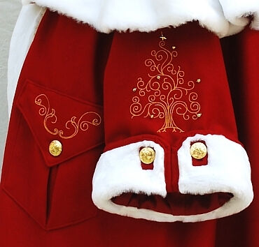 Victorian Santa Suit Embroidery Detail