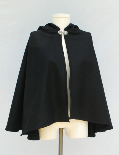 Black Melton Three-Quarters Circle Cape