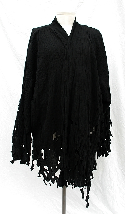 Shredded Distressed Black Crinkle Cotton Sith Tunic