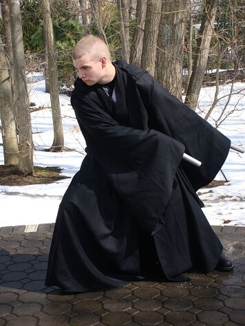 Christopher in his black cotton twill Sith style robe.