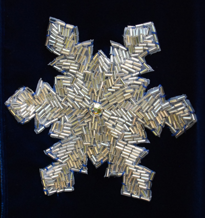 Blue Velvet Beaded Snowflake Cloak