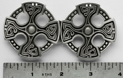 Celtic Cross Solid Pewter Cloak Clasp