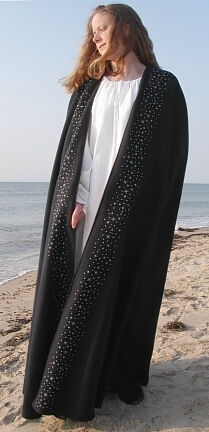 Starry Mantle Inspired Embroidered Midnight Blue Wool Cloak