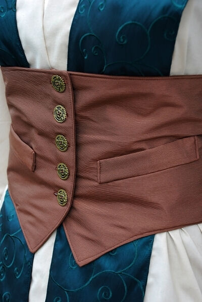 Steampunk Jedi Waist Cincher and Fabrics detail