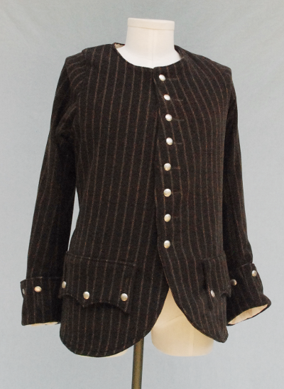 Tan Striped Brown Wool Highland Coat