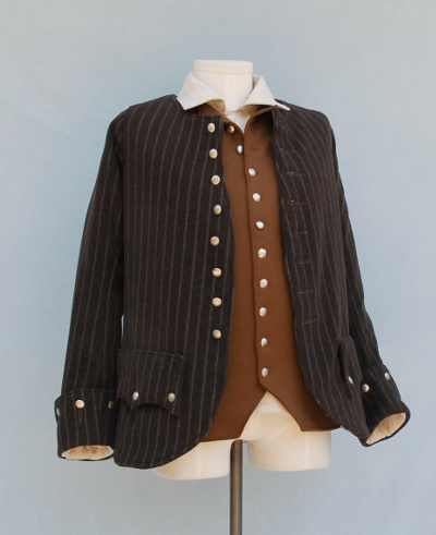 Tan Striped Brown Wool Highland Coat, Vest and Shirt