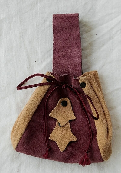 Tan and Dusty Rose Suede Belt Pouch