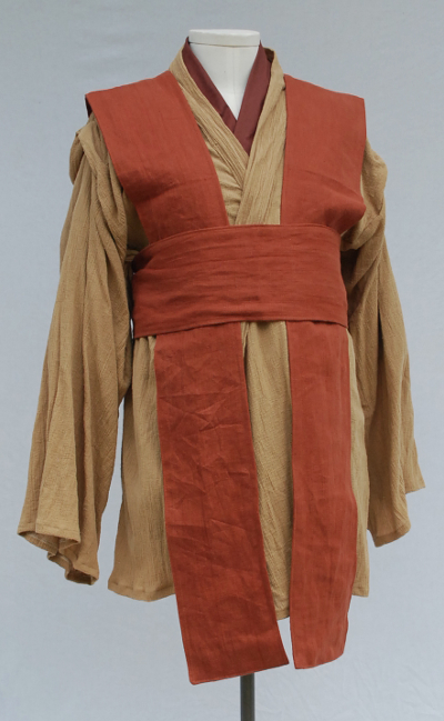 Terracotta Linen Tabard and Obi with Caramel Crinkle Tunic Set