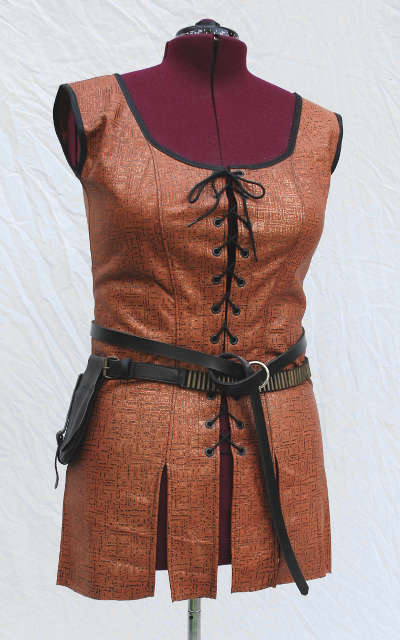 Terracotta Painted Textured Leather Fantasy Tunic