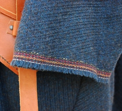 Textured Indigo Blue Wool Birka Tunic Cuff Detail