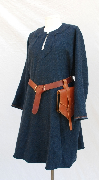 Textured Indigo Blue Wool Birka Tunic