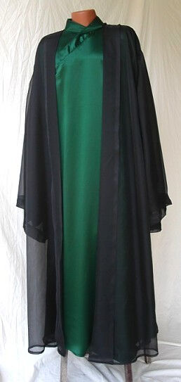 Voldemort Inspired Outfit in Hunter Green Silk Charmeuse with Organza Robe