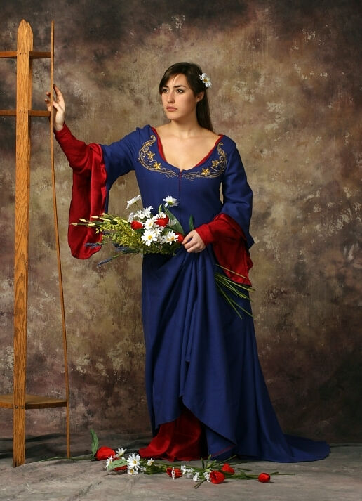 Waterhouse Inspired Embroidered Blue Gown