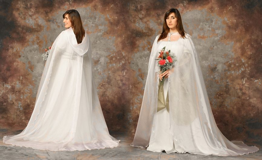White Crystal Organza Wedding Cloak