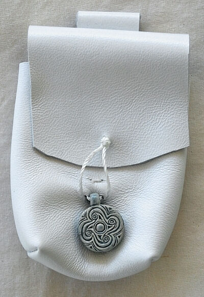 White Lambskin Leather Belt Pouch with Celtic Spirals Ceramic Accent