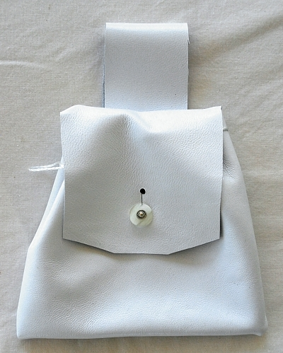 White Lambskin Leather Drawstring Pouch