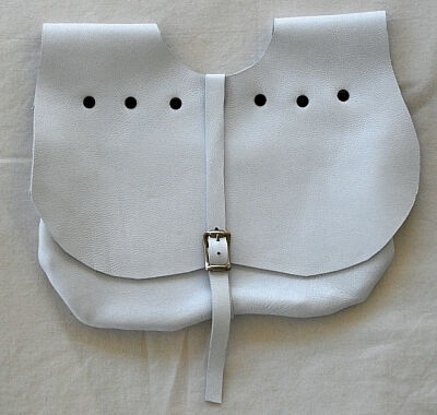White Lambskin Leather Kidney Shaped Pouch with Black Rivets and Brass Tone Buckle