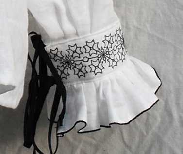White Linen Elizabethan Shirt with Blackwork Embroidery Cuff Detail