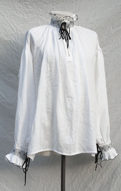 White Linen Elizabethan Shirt with Blackwork Embroidery