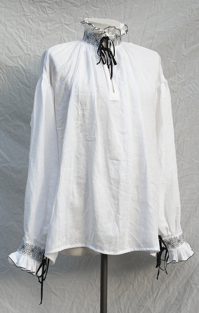 White Linen Elizabethan Shirt with Blackwork Embroidery Shirt
