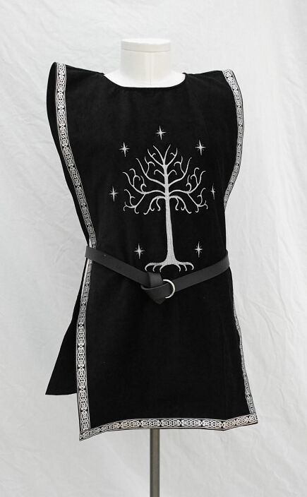 White Tree Embroidered Black Cotton Velvet Surcoat