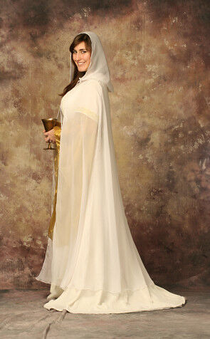 White Natural Silk Chiffon Wedding Veil Cloak