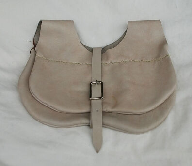 Handmade Distressed Greige Leather Kidney Style Belt Pouch