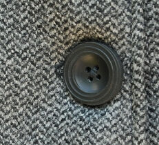 Herringbone Mod Cloak Fabric and Button Detail