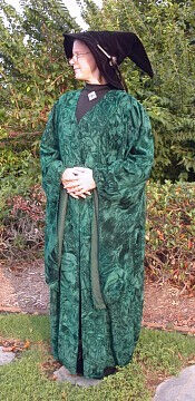 McGonagall Style Robe in Hunter Green Crushed Velvet