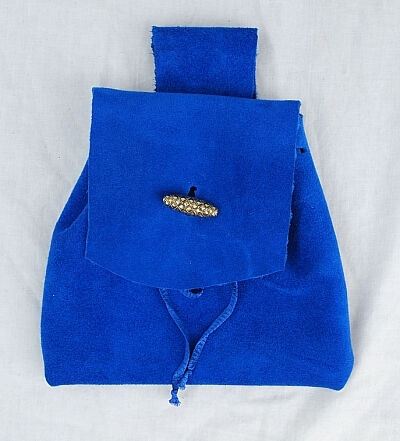 Royal Blue Suede Leather Button Bag with Gold Toggle