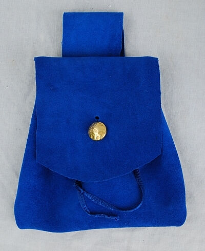 Royal Blue Suede Leather Belt Pouch with Gold Button