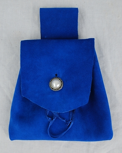 Royal Blue Suede Leather Button Bag with Silver and Faux Pearl Button