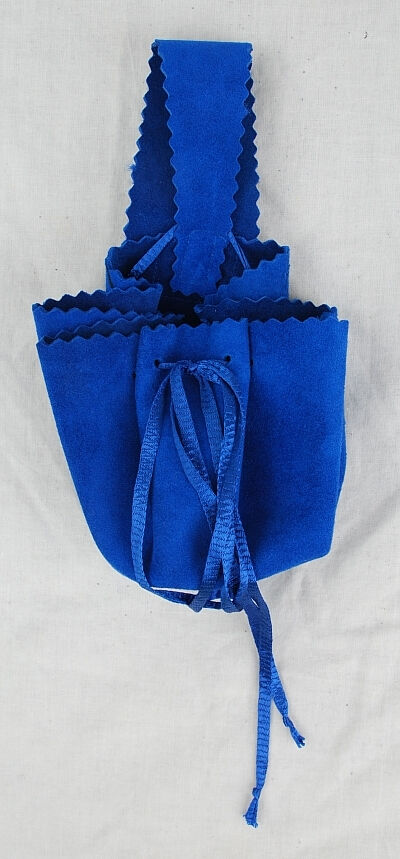 Royal Blue Suede Leather Drawstring Belt Pouch