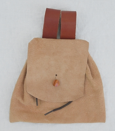 Tan Leather Suede Button Bag Belt Pouch